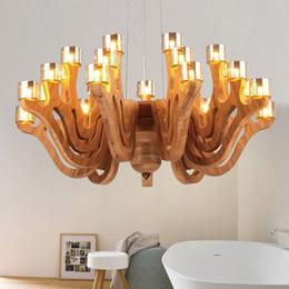 Wholesale Cognac Chandelier - Nordic Loft Style Wood Art Chandelier Oak Wood & Cognac Glass Light Pendant Light Fixtures Living Room Hotel Bar Indoor Lighting