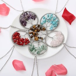 chip stone jewelry wholesale Promo Codes - 6 Colors Chips Tree Of Life Necklace Pendant Banquet Tree Necklace Charm Natural Stone Long Statement Jewelry for Girls Free DHL B178S