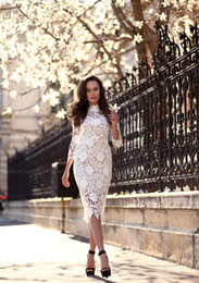 Wholesale Lady Lace Dress Knee Length - 2016 Summer Women Lace Dress Styles White Casual Pencil Dresses Flowers Pattern Bodycon High Neck Ladies Clothing