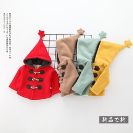 Wholesale Thick Girl Coats - Hooded thick coat for baby girl Outwear Horn buttons Big hood with star Lamb wool warm Fleece Coats Christmas 2017 Winter red