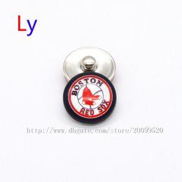 Wholesale Rhinestone Baseballs - Noosa jewelry accessories Boston Red Sox MLB baseball glass snap button charm popper for chunk snap bracelet jewelry making NE0104