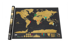 Wholesale Festival Top - Google Top Quality Super Clear and Deluxe Scratch Map   Deluxe Scratch Gilded World Map 82.5 x 59.5cm Best Gift 100pcs
