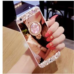 Iphone fait à la main en Ligne-De luxe Fait À La Main Bling Diamant Cristal Cas Titulaire Avec Support Kickstand Miroir Cas Couverture Pour iPhone 5S 6 6S 7 Plus Samsung S8 Plus S7 bord