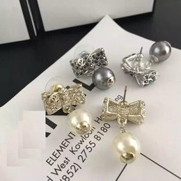 Wholesale Earrings Stud Box - discount new with box women's ladies females punk crystal diamonds bowknot pearls drop earrings studs 2colors free shipping