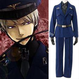 2019 anime xxs Wholesale-Customized Anime APH Axis Kräfte Hetalia Preußen Cosplay Kostüm blau Marine Uniform günstig anime xxs