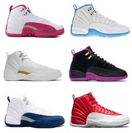Wholesale Valentine Blue - 2016 cheap air retro 12 women basketball shoes ovo white GS Valentines Day Dynamic white Pink GS Barons flu game taxi Sports sneakers