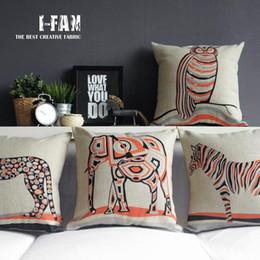 Wholesale Leopard Car Pillow - 45cm Orange and Black Boho leopard Elephant Cotton Linen Fabric Waist Pillow 18inch Hot Sale New Home Decorative Sofa Car Back Cushion
