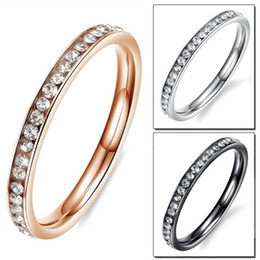 Wholesale Cheap Rose Jewelry - Fashion Women Party Rings Bands Classical Silver Black Rose Gold Plated Stainless Steel Full Crystal Jewelry Cheap Price