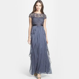 Wholesale Cheap Short Dreses - Attractive 2017 Gray Lace Evening Dreses With Jewel Neck Zipper Back Tiered Evening Gowns With Cap Sleeves Cheap Dresses Evening Wear