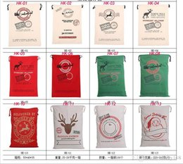 Wholesale Outdoor Reindeer Decorations - 2016 Christmas Large Canvas Monogrammable Santa Claus Drawstring Bag With Reindeers, Monogramable Christmas Gifts Sack Bags