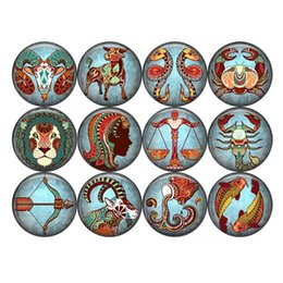 Wholesale Ceramic Prints - 1 Set Of Zodiac 20mm Glass Print Snaps Button Jewelry Fit Ginger Snaps Jewelry From Partnerbeads C0031-42
