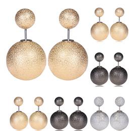 0f299156ff66 2019 bola de aretes Double Scrub Balls Stud Pendientes de lujo Perlas de  imitación Pendientes 3