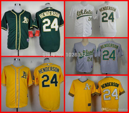 Wholesale Cheap Mens Athletic Shorts - 2015 New TOP Quality Oakland Athletics #24 Ricky Henderson Jersey Gray Green Yellow White Mens Baseball Jersey Cheap Wholesale Mix
