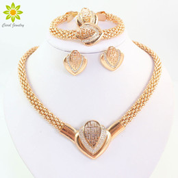 Wholesale Gold Plated Indian Earrings - Women Fashion Gold Plated Crystal Necklace Earring Bracelet Ring Dubai Jewelry African Beads Jewellery Costume