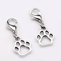 Wholesale Paws Prints - Hot ! 150pcs Antique Silver Zinc Alloy Paw Print Dangle Bead with Lobster clasp Fit Charm Bracelet DIY Jewelry