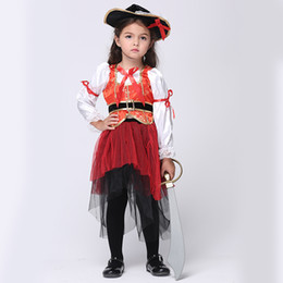 Wholesale Red Pirate Dress - Halloween costumes for children's costumes dance dress skirt girl suit Cosplay pirate children's wear