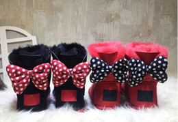 Wholesale Kids Snow Boots Free Shipping - CLASSIC DESIGN SHORT BABY BOY GIRL WOMEN KIDS BOW-TIE SNOW BOOTS FUR INTEGRATED KEEP WARM BOOTS EUR SZIE 25-41 FREE SHIPPING