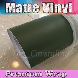 Wholesale car roof wrap - Matte Military Green Vinyl Car Wrap Film With Air release Army Matt Vinyl For Vehicle Wrapping Covering foile 1.52x30m Roll (5ftx98ft)