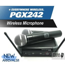 Wholesale teaching microphones - Microfono Free Shipping! Professional PGX242 Handheld Wireless Microphone Mic Karaoke System For Meeting Teaching Vocal Stage Party Show