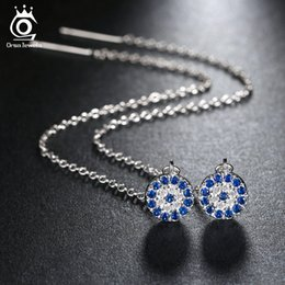 Wholesale Brilliant Diamond Earrings - Stylish Long Stud Earrings with Clear fix Blue Cubic Zirconia Pendant for Women Brilliant Simulated Diamond Jewelry OE134