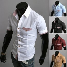 Wholesale Korean Shirt Brands For Men - Fashion New Korean Top Brand Unique pocket flip plaid color block decoration long-sleeve slim men's shirt,dress shirts for men