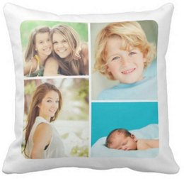 Wholesale Color Collage - Custom family photo collage pillow 50% cotton and 50% linen material color as shown 16x16inch 18x18inch 20x20inch
