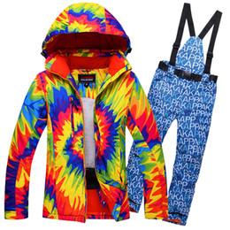 Wholesale Flower Suit Jacket - Free Shipping New Women Flower Ski Suit Windproof Waterproof Skiing Jacket+Pants Outdoor Sport Wear Camping Hiking Riding Flower Style Set