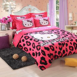 Wholesale Patterned Bedding - Reactive Printing cotton hello kitty pattern duvet cover set 4pcs Bedding Set More Style Hellokitty quilt cover set
