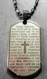 """Wholesale Big Dog Chains - High Quality 316L Stainless Steel Jesus Christain Bible Script Prayer Worship Big Dog Tag Pendant Free 24"""" Ball Chain Necklace"""