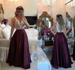 Wholesale Elegant Maternity Tops - 2017 Hot Selling Vintage Elegant Prom Dresses Lace Top A Line V Neck Illusion Back Evening Dresses Pageant Formal Party Dresses BA3697