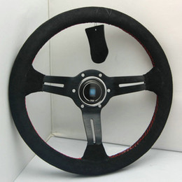 Wholesale Sport Steer - Brand New Universal Fits Sport 13066 320mm Second Level Leather Deep Dish Steering Wheel With Red Lines