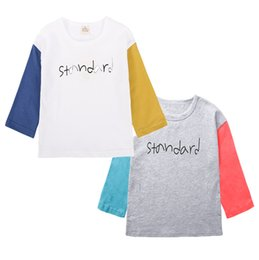 Wholesale Splice Round Neck Shirt - INS Baby Girls Long Sleeve T-shirts Splice Letter Autumn Casual Tops Printed Classic Kids Fashion Cartoon