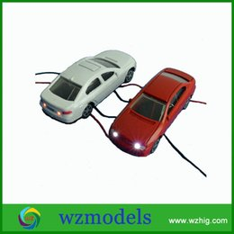 Wholesale Mini Building Vehicles - LED Car Toys Mini Model Car Head Light 1:100 Scaled Models Scenery Layout for architecture