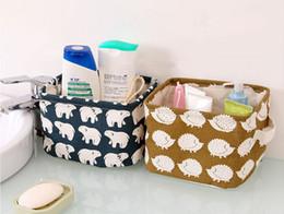 Wholesale Wholesale Storage Cabinets - Cute Printing Cotton Linen Desktop Storage Organizer Sundries Storage Box Cabinet Underwear Storage Basket