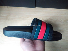 Wholesale moulding adhesive - 2018 mens fashion striped Moulded rubber footbed slide sandals flip flops adults causal slippers size euro 36-45