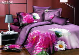 Wholesale Sunflower Print Duvet - High Definition digital 3D bedding sets sunflower 3d comforter cover bedsheet pillowcases sunflower 3d oil painting bed set hot sale 5308