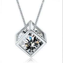 Wholesale Plant Cube - 2016 Fashion 925 Sterling Silver Box Chain Austria CZ Diamond Crystal Love Magic Cube Square Shape Pendant Necklace For Women Wedding Gift