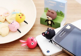 Wholesale Cute Anti Dust Plug Stopper - 3.5mm Earphone Anti Dust Plug Cap Stopper 3D Cute Animal Bear Rabbit Cat Pig for iPhone 7 7S Samsung HTC Nokia iPad