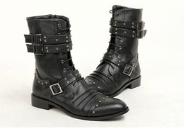 Wholesale Men Punk Boots Buckle - FASHION Men High-Top Shoes,Mid-Calf Boot,Black Punk Rivets Buckles PU Leather Lace-Up Side Zipper Army Combat Martin Boots