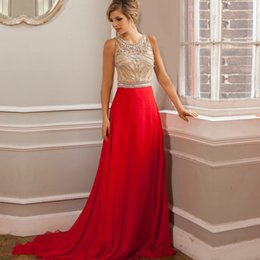 longo 2016 Long Red Evening Dresses A Line Luxury Crystal Beaded Formal  Gown Prom Dresses robe de soiree imported party d8482228ccb2