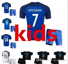 Wholesale France Soccer Kit - Best quality 17 18 kids Euro France Home blue soccer Jersey Kits 2017 2018 GRIEZMANN POGBA MARTIAL Giroud Away white child Football shirts