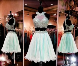 Wholesale Cap Hater - Cheap Homecoming Dresses Hater Sheer Lace Appliques A Line Ruffles two Pieces Dresses Evening Wear Open Back Sexy Party Gowns