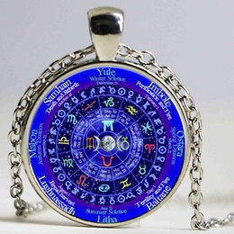 Wholesale crystal zodiac - 1pcs lot Zodiac Wicca Logo Necklace Pendant Pentagram Wiccan Vintage Chain Choker Statement Necklac Men Jewelry Women Gift