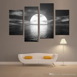 Wholesale Paint Over Canvas Print - 4 Picture Combination Euro Style Over the Sea the Moon Shines Bright Seascape Oil Painting on Canvas Peaceful Art Wall Canvas