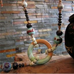 кольцо из оникса из белого золота 18 тыс. Скидка Полностью ручной работы длинные ожерелья горячей продажи фарфора Мяо керамики бусины кулон нити строки свитер цепи аксессуары для одежды высшего класса