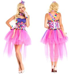Wholesale Carnival Uniforms Adults - 2016 Top Quality Sexy Circus Clown Sling Princess Dress Halloween Carnival Costume Cospaly Adult Jester Uniform +Hat+Gloves+Tie
