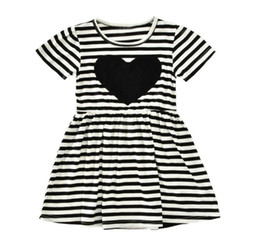 Wholesale Summer Love Princess Dress - Retail Girls Dresses black white Stripe love Heart Short sleeve Princess Dress Children Clothing 2-6T E51802