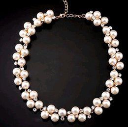 Wholesale Cheap Beads Pearls Necklaces - 20pcs Wholesale 2016 hot Pearl jewelry Diamond Collar Bone Short Chain Necklace Fashion pendant Cheap Charms beads Jewelry Party Dresses up