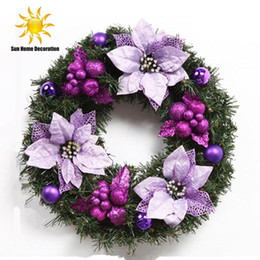 Wholesale Purple Christmas Wreath - Christmas Tree Decoration Artificial Flowers Christmas Decoration Scene Layout Christmas Wreath Door Wreath purple