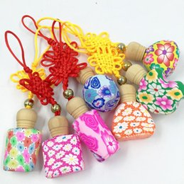 Wholesale Chinese Car Perfumes - Chinese Knot Color Flower Perfume Bottle 10-15ml Empty Essential Oil Bottle Pendant Car Hanging Decoration FZ302